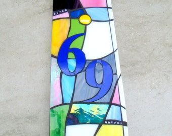 Stained Glass House Number, Custom House Plaque, Bespoke, Door plate, Door Number, Art Nouveau, Corian, Abstract,