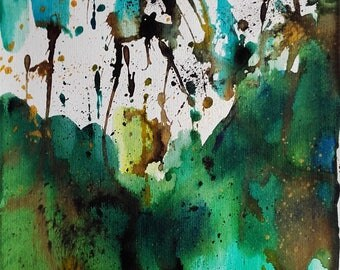 Abstract Art Abstract Painting Ink Abstract Drawing Abstract Landscape Abstract Panorama Green Blue Home Decor Original Art Contemporary Art