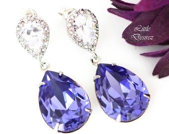 Purple Swarovski Earrings Lilac Earrings Purple Bridal Earrings Swarovski Tanzanite Bridesmaid Earrings Plum Jewelry Wedding Jewelry TZ31P
