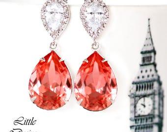 Coral Bridal Earrings Swarovski Rose Peach Crystal Peach Earrings Sparkly Teardrop Bridesmaid Coral Earring Beach Wedding Jewelry CO31P