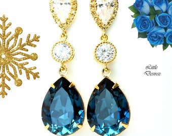 Navy and Gold Earrings Navy Blue Earrings for Wedding Bridesmaid Jewelry Navy Blue Bridal Earrings Navy Blue Long Earrings Swarovski MO31PC