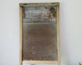 Antique National Washboard Soap Saver  No. 198 Galvanized Metal Washboard Farmhouse  Rare