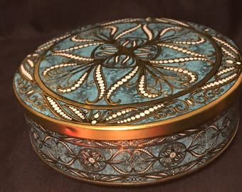 Vintage Tin Turquoise Made in England Metal Tin Container