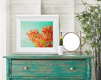 Wildflowers - 8x10 Floral flower photography print red turquoise blue aqua wall art home decor botanical bright spring summer green peach