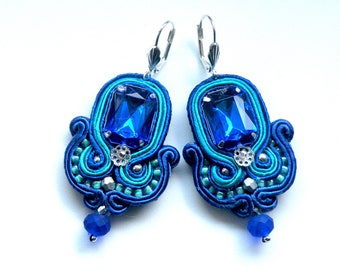 Earrings-Soutache Earrings, Handmade Earrings, Hand Embroidered, Soutache Jewelry, Handmade from Poland,  OOAK-Azzuro