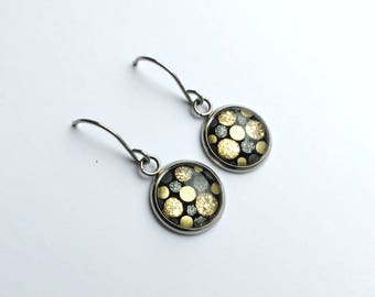 Round dangle earrings - polka dot earrings - gold dangle earrings - gray earrings - surgical steel earrings - gift for her - glass earrings