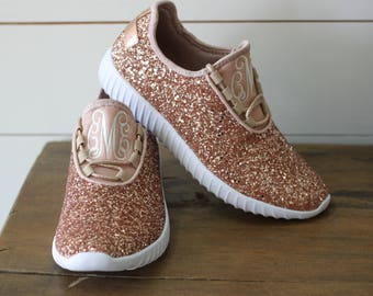 Glitter Bomb Sneakers / Glitter Kicks / Personalized Womens shoes / Rose Gold Tennis Shoes / Glitter Shoes Monogrammed / Glitter Tennis Shoe