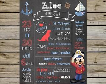 Magnifique Tableau noir personnalisé de Mickey Mouse nautique pour anniversaire d'enfant si vous me fournissez les informations :)