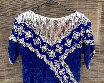 Blue and Silver Sequin Top (Small)