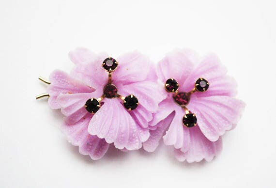 Purple flower Hair Clip-  Barrette - Vintage Plastic  - Rhinestone floral hair pin