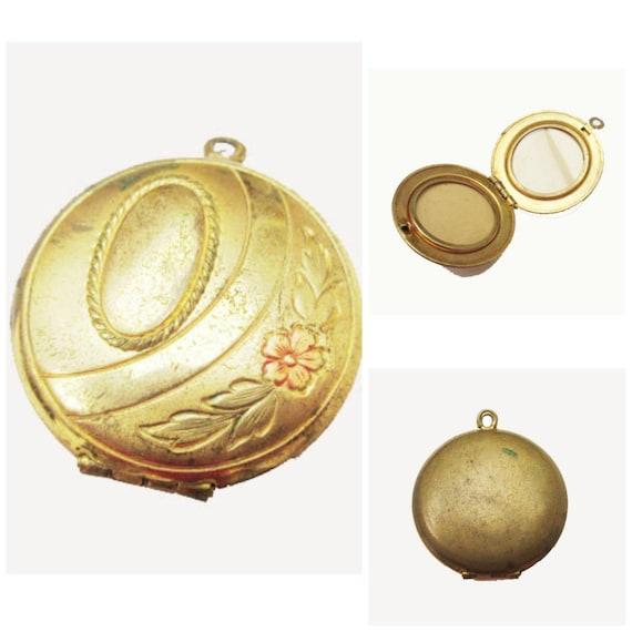 Gold filled Locket Pendant - floral etched design -two photos - Victorian revival pendant