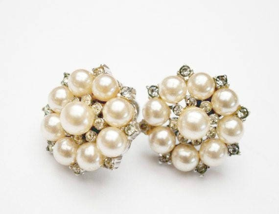 Sterling Pearl Earrings - Rhinestone - screw back earrings -white bead - wedding Bride