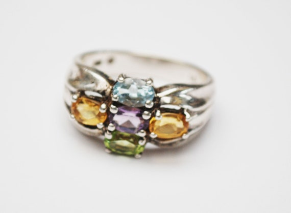 Multi gemstone ring - Sterling silver - Amethyst Citrine Peridot Aquamarine -purple yellow blue green stone ring size 10 - Signed PD