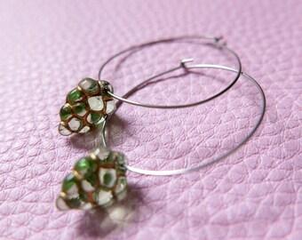 Earrings stainless steel Czech glass 3cm