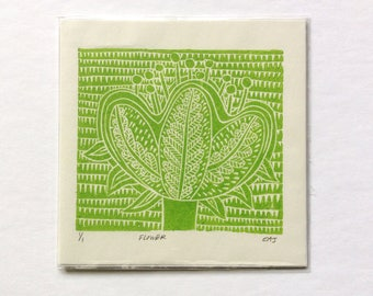 linocut - FLOWER - 6x6 / printmaking / block print / nature art / green