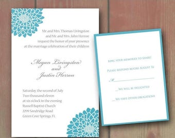 Summer Sale Blue Mums Chrysanths Wedding Invitation Set - Flowers, Weddings Stationery, Rsvp Cards, Spring Flowers