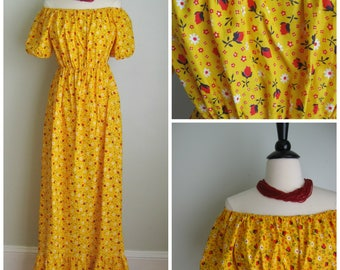 1970's Yellow Cotton Floral Maxi Dress// Ruffled// off the Shoulder