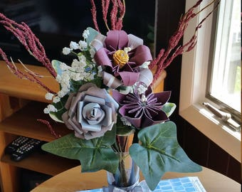 Burgandy and grey floral arrangement. Paper flowers origami,lily and rose