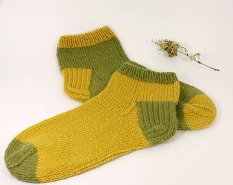 Hand knitted men's socks, Hand knitted women's socks, Men's mismatched socks, Women's mismatched socks, Hand knitted men's wool socks