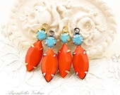 Vintage Opaque Orange Navette & Turquoise Swarovski Rhinestone 1 Ring Antique Silver or Brass Drops Charms 23x7mm - 2