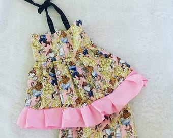 Beauty and the beast, dress, Shorties, cotton diaper cover,  nb, size 3, 6, 9, 12, 24 months, 2T