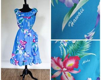 Vintage Hawaiian Sundress Ruffled Dress Sleeveless Blue Flowered Royal Hawaiian Creations Hibiscus Tropical Flowers Aloha Off The Shoulder M