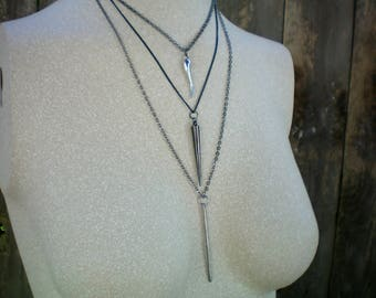 Three layer stacking necklace set, Silver and black, Up-cycled Jewelry, Sentimental/Reminiscent, Free USA shipping, Made in USA/MI