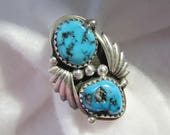 Vintage NAVAJO Robert Becenti Twin Turquoise and Sterling Ring -- Size 7, Gorgeous Color and Excellent Condition