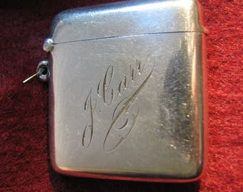 Vintage 1927 VESTA/Match Safe in Sterling Silver -- 37 Grams, Fully Hallmarked Birmingham, England, maker HM Henry Manton, Engraved J. CARR