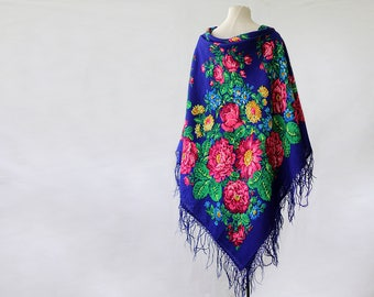 cobalt blue Russian shawl with green and pink, oversized shawl, fringed shawl, large floral shawl with lilies, blue Pavlovo Posad shawl