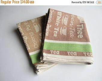 SALE Coffee time linen kitchen towel set of 2, kitchen towels, dish tea towel, linen hand towel, dish towels, linen tea towel, hand towel