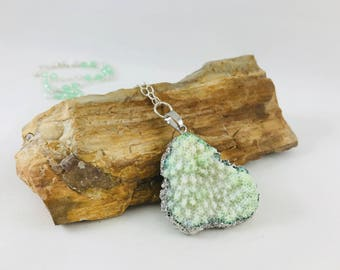 Green coral necklace, coral jewelry, fall necklace, beach necklace, raw coral, green jewelry, green coral