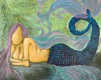 Purple Metallic Mermaid Original Painting by Artist Rafi Perez Mixed Medium on Canvas