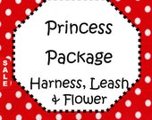 Sale - 50% Off - Traditional or Step-In Harness, 6 FT Leash Package & Flower (Bow)! Dog Harness Set