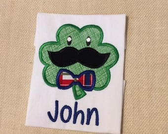 Personalized Mustache and Bowtie Shamrock Shirt