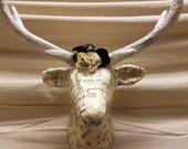 Sheet Music Deer Wall Decor - Paper Mache Vintage Sheet Music Deer Head - Sheet Music Flower and Vinyl Record Flower - Gift for Musician