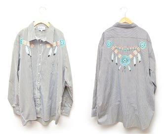 90s Western Dreamcatcher Patterned Shirt Long Sleeve Womens 2X XXL Plus Size Striped Turquoise Glitter