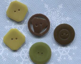 Group of 5 Vintage Bakelite Buttons-Item# 628