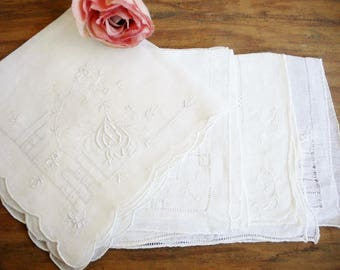 Vintage Tea Fancy Embroidered Hankies Lot Set of 4/Ivory Heirloom Vintage Wedding Hankies/Shabby Chic Decor/Crafters Lot/Bride Hankie