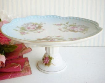 Vintage Leftons Blue Cake Stand With Roses,6 Inch/Pedestal Wedding Cake Stand/Cupcake Stand, Dessert Stand/Shabby Chic/Something Blue/