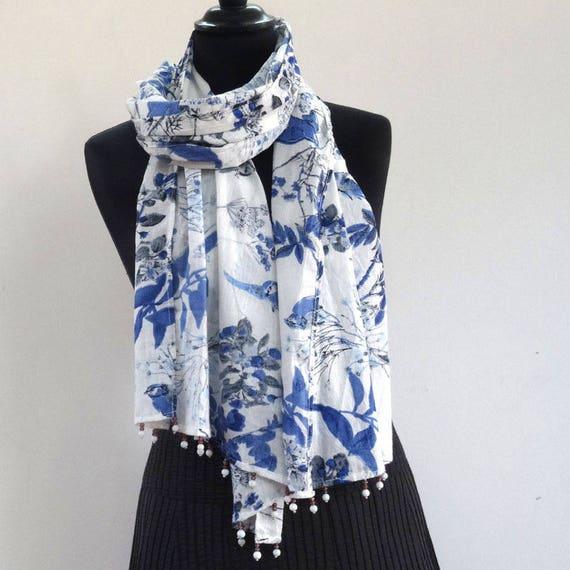 echarpe foulard en coton blanc imprim u00e9 oiseaux bleus avec
