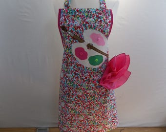 Pink And Green Palette Artist Apron