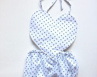 Baby Girl Jumper Heart Polkadots Summer Outfit