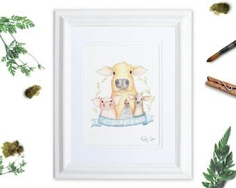 Vegan Nursery Art Print   Live and Let Live Watercolor Cow   Pig Artwork   Goat Art Print   Animal Rights Watercolor Art   Animal Lover Gift