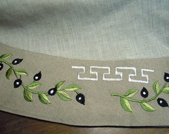 Unique Embroidered Tablecloth Greek Traditional Design Olives Meander Home  Decor Table