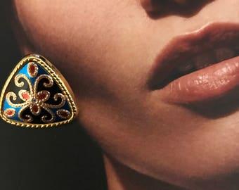 Colorful Triangle Pierced Earrings
