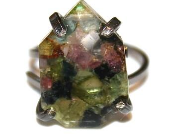 Mosaic Tourmaline Ring Rainbow Tourmaline Ring Black Gold Ring Adjustable Ring Watermelon Tourmaline Slice Tourmaline Jewelry FizzCandy