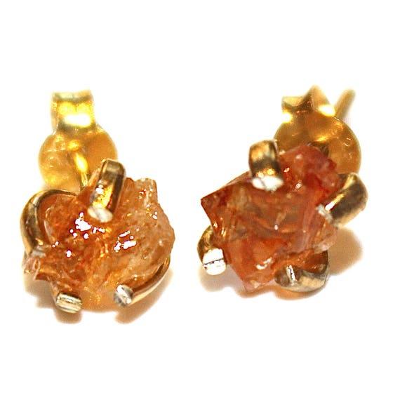 Raw Citrine Stud Earrings in Gold Vermeil
