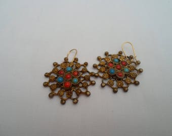 Gilt,red and blue starburst earrings