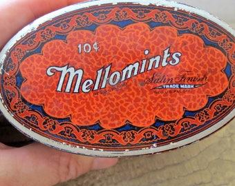 Chemist Pharmacy MINT Tin, '[MELLOMINTS' Brandle Smith Co. Philadelphia PA, American Made Vintage. Display Prop Collect. Liberty Tin Company